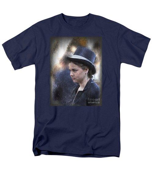 Girl In A Dark Blue Hat Men's T-Shirt  (Regular Fit) by Elaine Teague