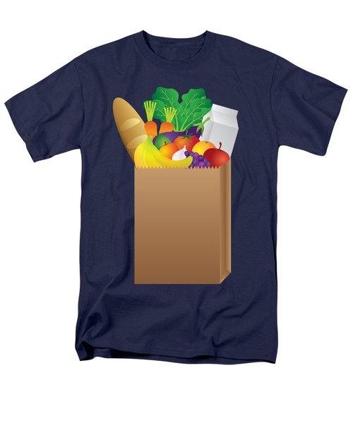 Grocery Paper Bag Of Food Illustration Men's T-Shirt  (Regular Fit)