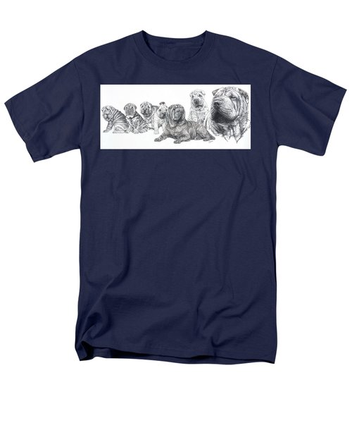 Men's T-Shirt  (Regular Fit) featuring the drawing Growing Up Chinese Shar-pei by Barbara Keith