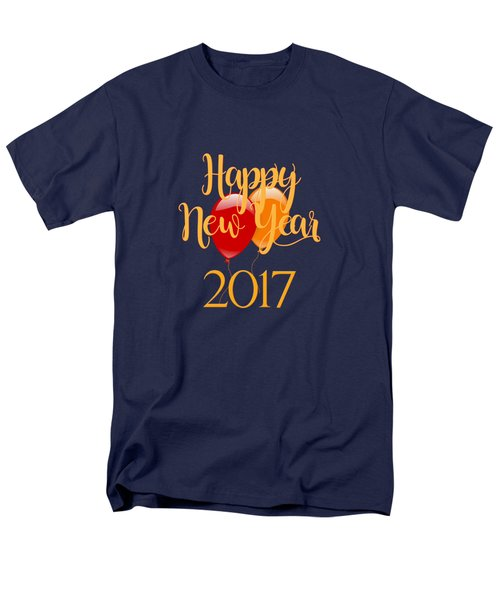 Happy New Year 2017 With Balloons Men's T-Shirt  (Regular Fit) by Heidi Hermes