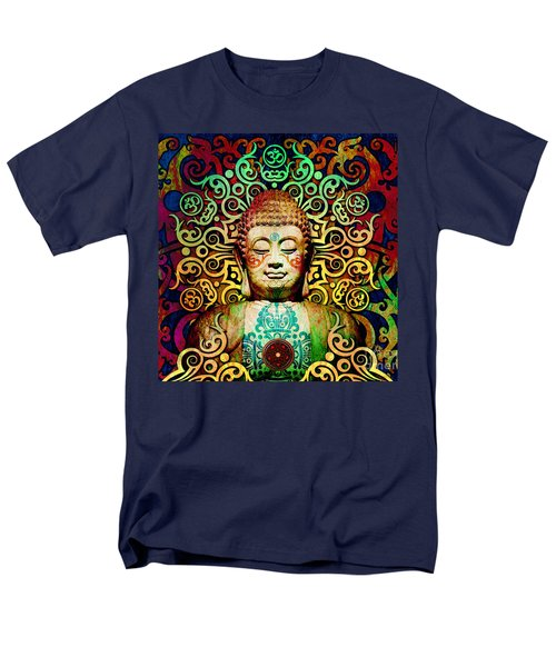 Heart Of Transcendence - Colorful Tribal Buddha Men's T-Shirt  (Regular Fit) by Christopher Beikmann