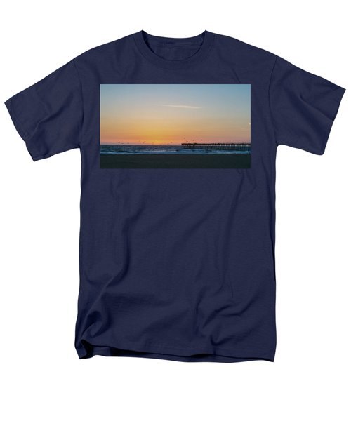 Hermosa Beach Pier At Sunset With Seagulls Men's T-Shirt  (Regular Fit) by Mark Barclay