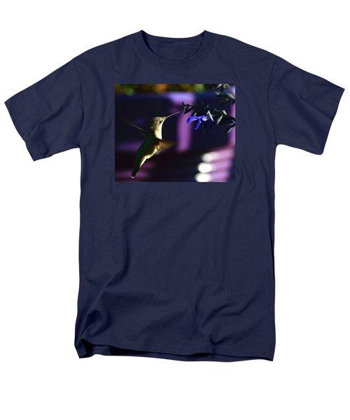 Hummingbird And Blue Flower Men's T-Shirt  (Regular Fit) by Kathy Eickenberg