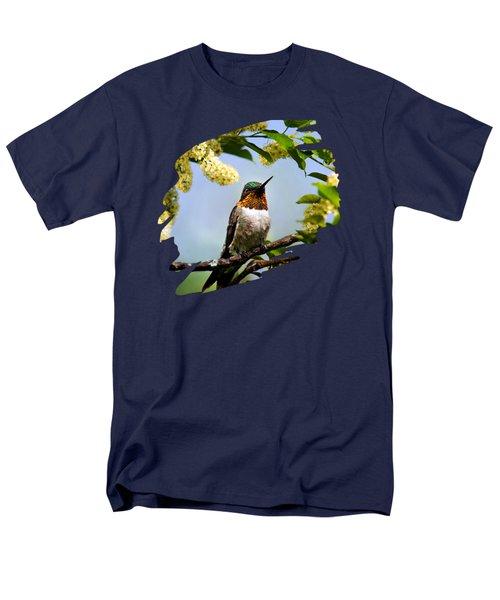 Hummingbird With Flowers Men's T-Shirt  (Regular Fit)