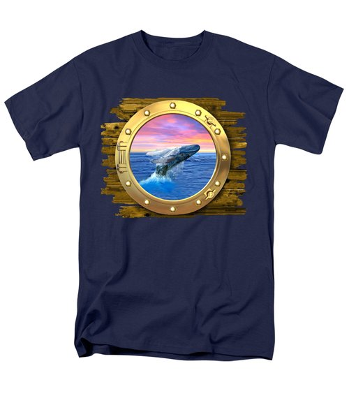 Humpback Whale Breaching At Sunset Men's T-Shirt  (Regular Fit) by Glenn Holbrook