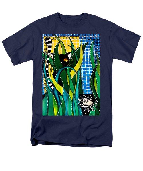 Hunter In Camouflage - Cat Art By Dora Hathazi Mendes Men's T-Shirt  (Regular Fit) by Dora Hathazi Mendes