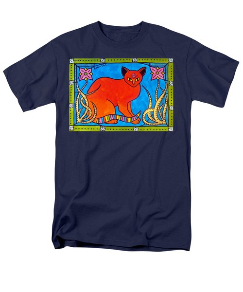 Indian Cat With Lilies Men's T-Shirt  (Regular Fit) by Dora Hathazi Mendes