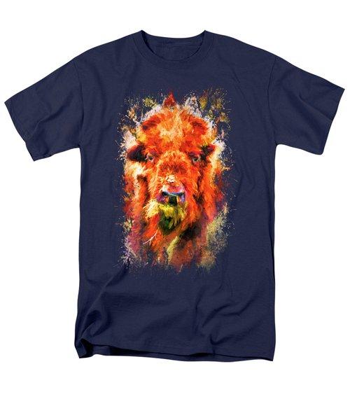 Jazzy Buffalo Colorful Animal Art By Jai Johnson Men's T-Shirt  (Regular Fit) by Jai Johnson