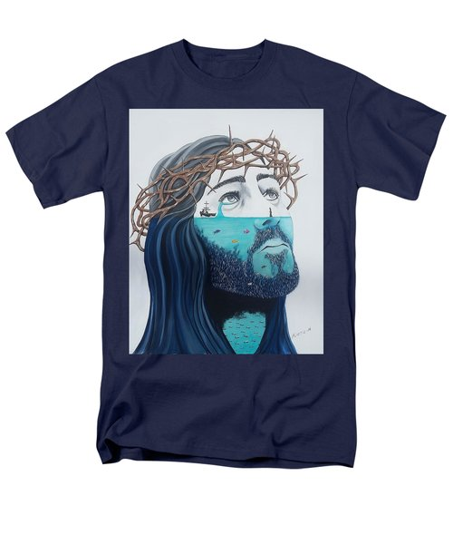 Men's T-Shirt  (Regular Fit) featuring the painting Jesus Walks On The Water by Edwin Alverio