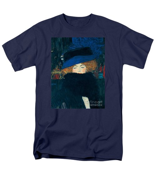 Lady With A Hat And A Feather Boa Men's T-Shirt  (Regular Fit) by Gustav Klimt