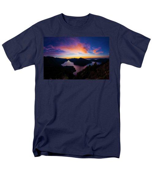 Lake Crescent Sunset Men's T-Shirt  (Regular Fit) by Pelo Blanco Photo