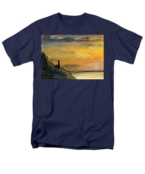 Lighthouse Oversees Coast Men's T-Shirt  (Regular Fit) by R Kyllo