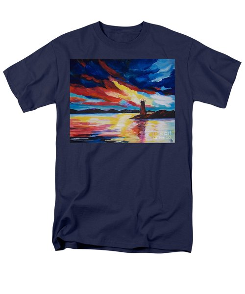 Men's T-Shirt  (Regular Fit) featuring the painting Lighthouse Storm by Leslie Allen