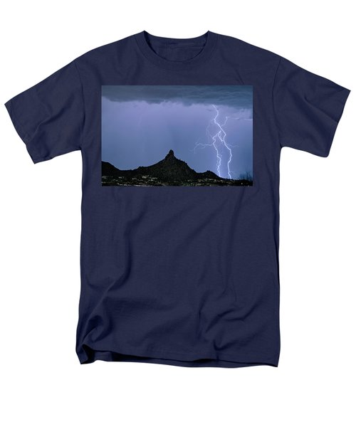 Men's T-Shirt  (Regular Fit) featuring the photograph Lightning Bolts And Pinnacle Peak North Scottsdale Arizona by James BO Insogna