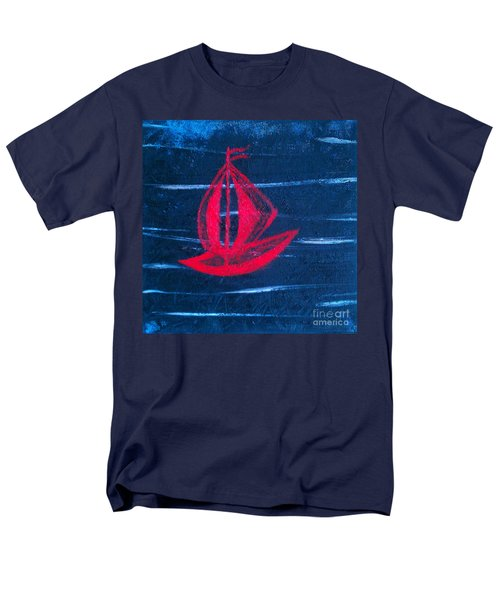 Men's T-Shirt  (Regular Fit) featuring the painting Little Red Boat  by Jacqueline McReynolds
