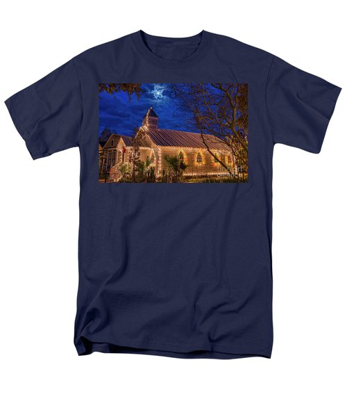 Men's T-Shirt  (Regular Fit) featuring the photograph Little Village Church With Star From Heaven Above The Steeple by Bonnie Barry