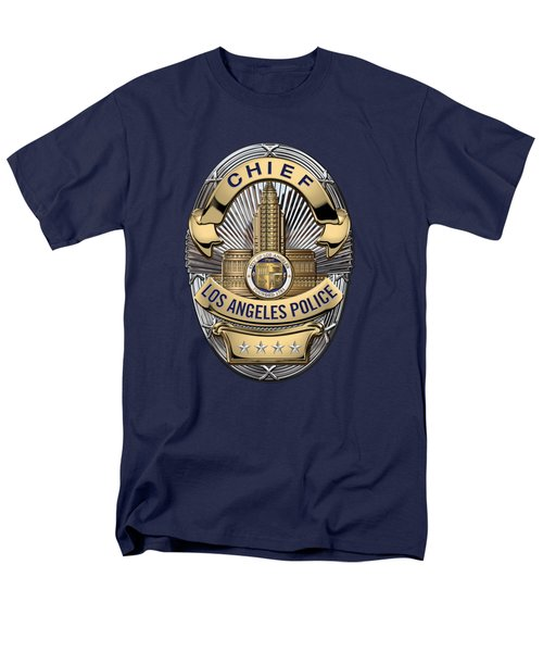 Los Angeles Police Department  -  L A P D  Chief Badge Over Blue Velvet Men's T-Shirt  (Regular Fit)