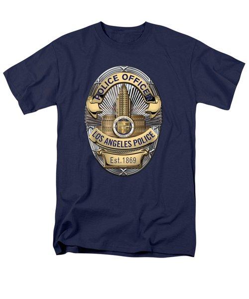 Los Angeles Police Department  -  L A P D  Police Officer Badge Over Blue Velvet Men's T-Shirt  (Regular Fit)