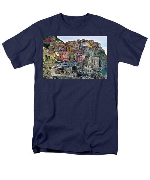 Men's T-Shirt  (Regular Fit) featuring the photograph Manarola Cinque Terre Italy by Frozen in Time Fine Art Photography