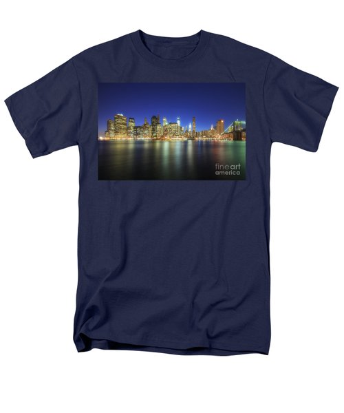Manhattan Nite Lites Nyc Men's T-Shirt  (Regular Fit) by Yhun Suarez
