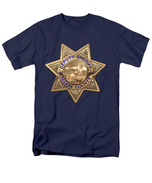 Men's T-Shirt  (Regular Fit) featuring the digital art Marin County Sheriff's Department - Deputy Sheriff's Badge Over Blue Velvet by Serge Averbukh