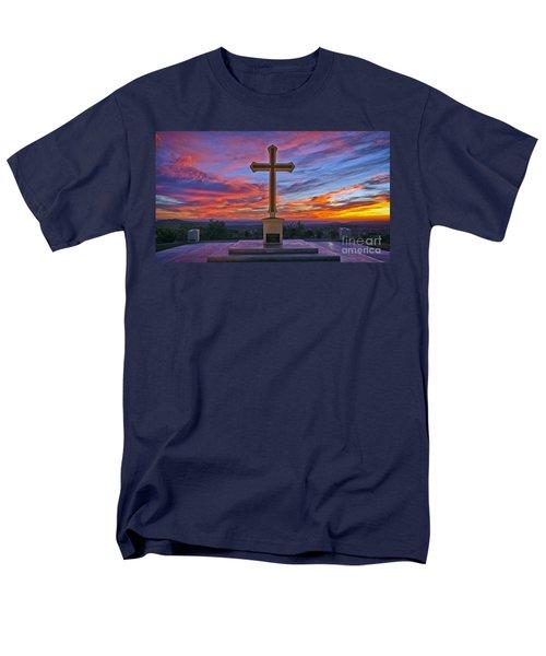 Christian Cross And Amazing Sunset Men's T-Shirt  (Regular Fit) by Sam Antonio Photography