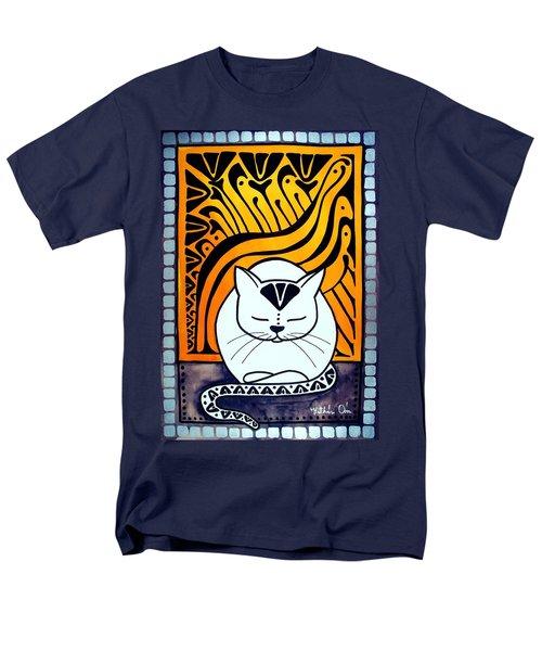 Meditation - Cat Art By Dora Hathazi Mendes Men's T-Shirt  (Regular Fit) by Dora Hathazi Mendes