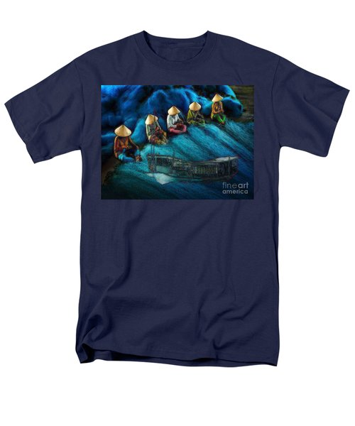 Men's T-Shirt  (Regular Fit) featuring the painting Mekong Weavers by Mojo Mendiola