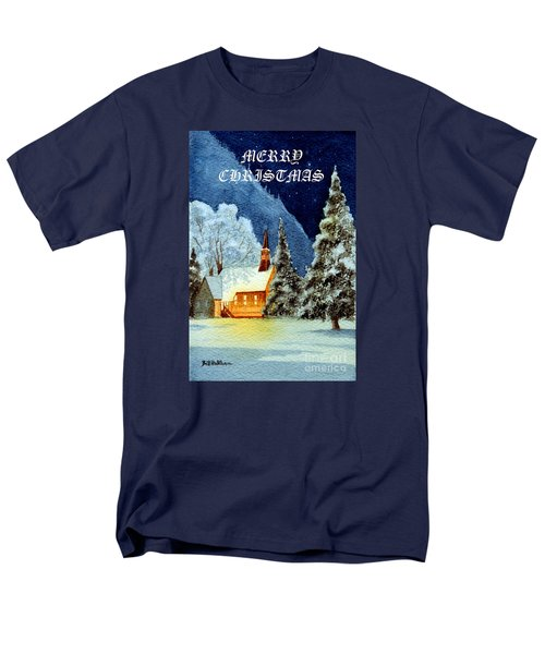 Merry Christmas Card Yosemite Valley Chapel Men's T-Shirt  (Regular Fit) by Bill Holkham