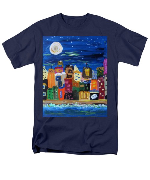 Moon And Sea Waves Men's T-Shirt  (Regular Fit) by Mary Carol Williams
