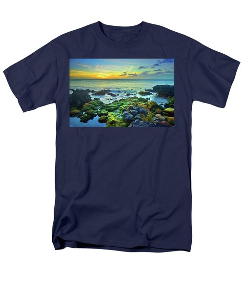 Men's T-Shirt  (Regular Fit) featuring the photograph Moss Covered Rocks At Sunset In Molokai by Tara Turner
