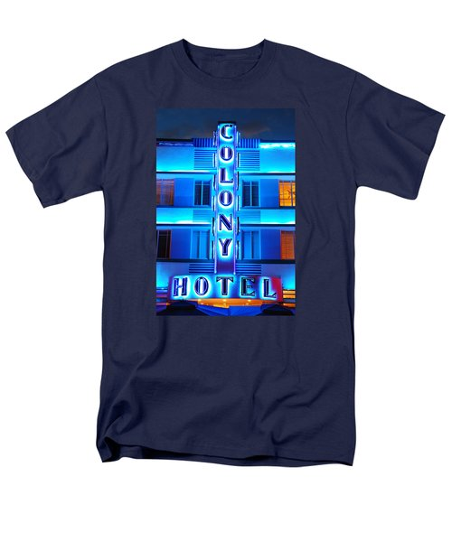 Neon Lights Of The Colony Hotel, Miami Beach Men's T-Shirt  (Regular Fit) by James Kirkikis