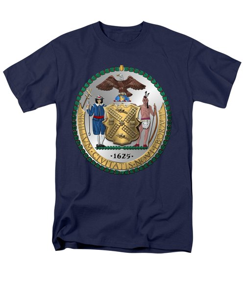 New York City Coat Of Arms - City Of New York Seal Over Blue Velvet Men's T-Shirt  (Regular Fit) by Serge Averbukh