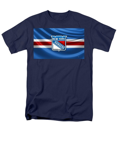 New York Rangers - 3d Badge Over Flag Men's T-Shirt  (Regular Fit) by Serge Averbukh