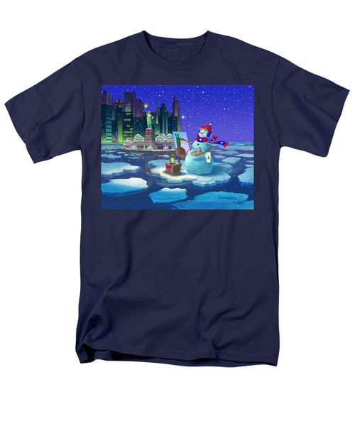 New York Snowman Men's T-Shirt  (Regular Fit) by Michael Humphries