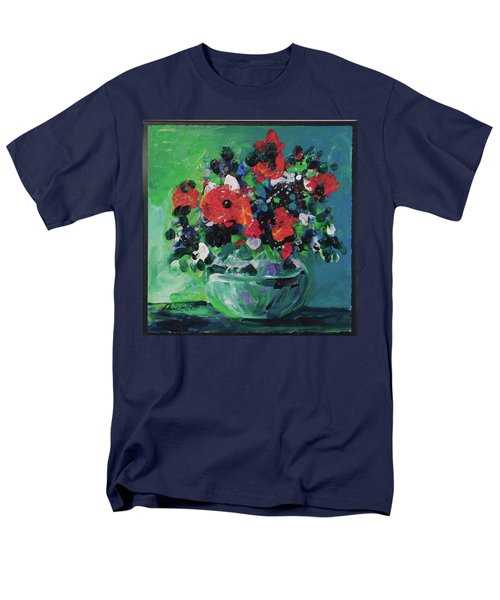 Men's T-Shirt  (Regular Fit) featuring the painting Original Bouquetaday Floral Painting By Elaine Elliott, Blues And Greens, 12x12, 59.00 Incl. Shippin by Elaine Elliott