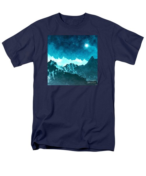 Men's T-Shirt  (Regular Fit) featuring the digital art Outer Space Mountains by Phil Perkins
