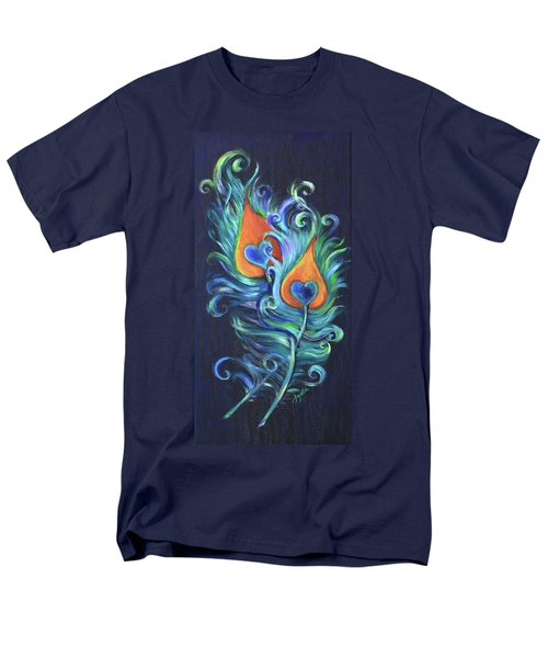 Men's T-Shirt  (Regular Fit) featuring the painting Peacock Feathers by Agata Lindquist