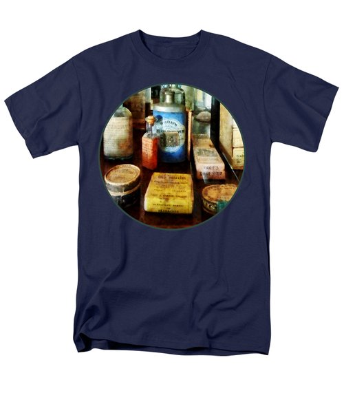 Men's T-Shirt  (Regular Fit) featuring the photograph Pharmacy - Cough Remedies And Tooth Powder by Susan Savad