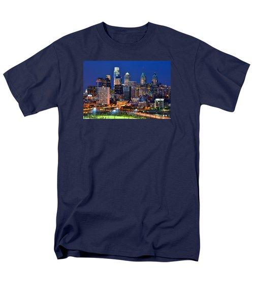 Philadelphia Skyline At Night Men's T-Shirt  (Regular Fit) by Jon Holiday