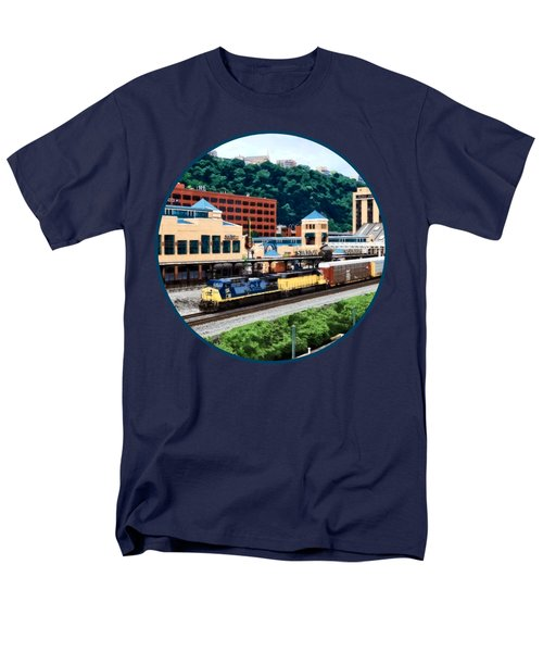 Pittsburgh Pa - Freight Train Going By Station Square Men's T-Shirt  (Regular Fit) by Susan Savad