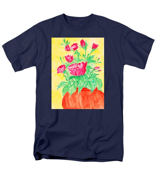 Red Flowers In A Brown Vase Men's T-Shirt  (Regular Fit) by Jose Rojas