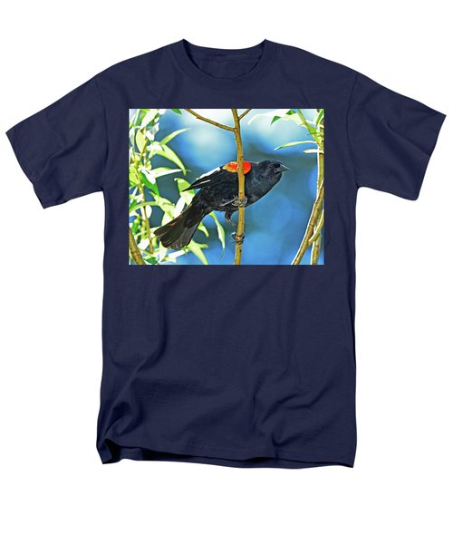 Men's T-Shirt  (Regular Fit) featuring the photograph Redwing Blackbird by Jack Moskovita