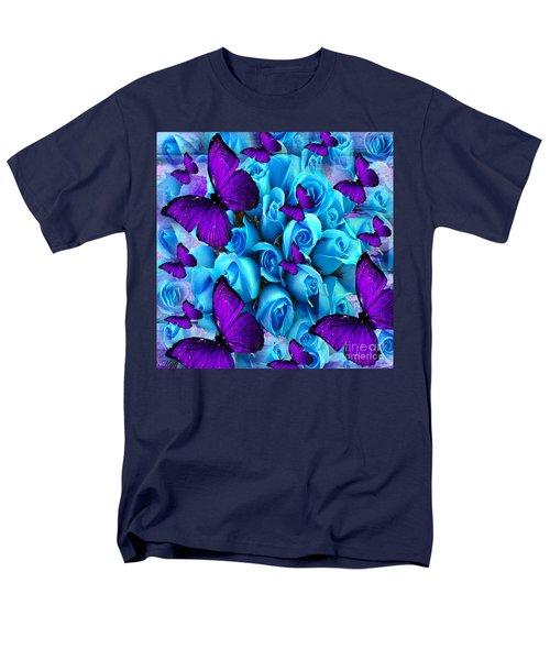 Roses And Purple Butterflies Men's T-Shirt  (Regular Fit) by Saundra Myles