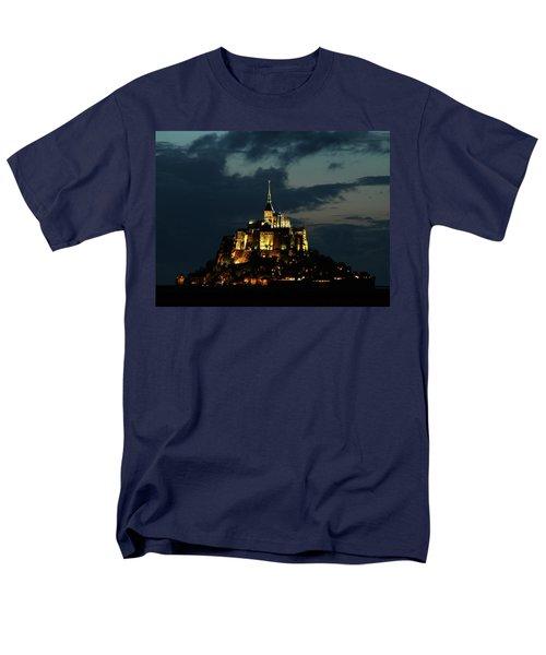 Men's T-Shirt  (Regular Fit) featuring the photograph Saint Michel Mount After The Sunset, France by Yoel Koskas