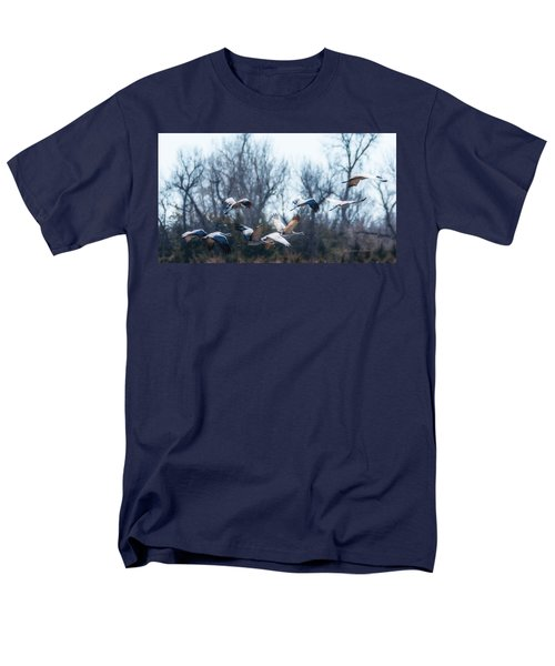 Men's T-Shirt  (Regular Fit) featuring the photograph Sandhill Crane In Flight by Edward Peterson
