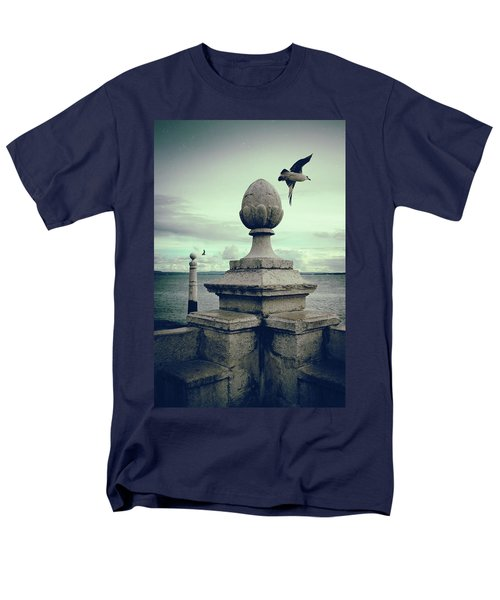 Men's T-Shirt  (Regular Fit) featuring the photograph Seagulls In Columns Dock by Carlos Caetano