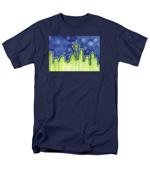 Seattle Night Sky Watercolor Men's T-Shirt  (Regular Fit) by Olga Shvartsur