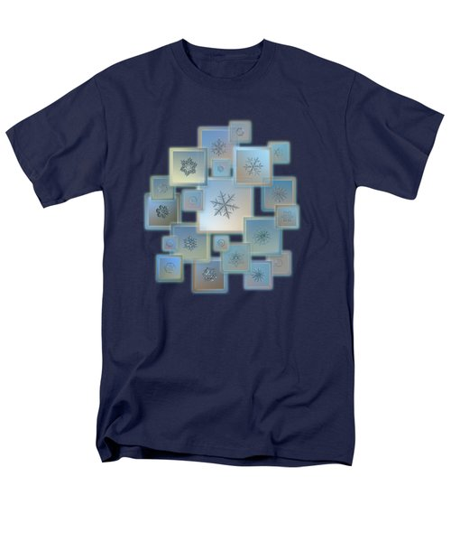 Men's T-Shirt  (Regular Fit) featuring the photograph Snowflake Collage - Bright Crystals 2012-2014 by Alexey Kljatov