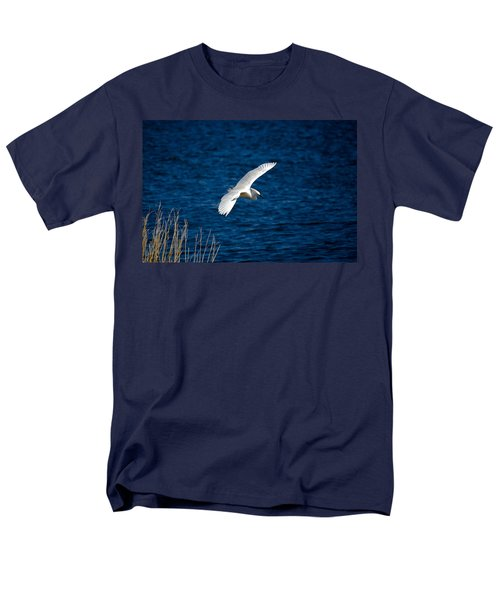 Soaring Snowy Egret  Men's T-Shirt  (Regular Fit) by DigiArt Diaries by Vicky B Fuller